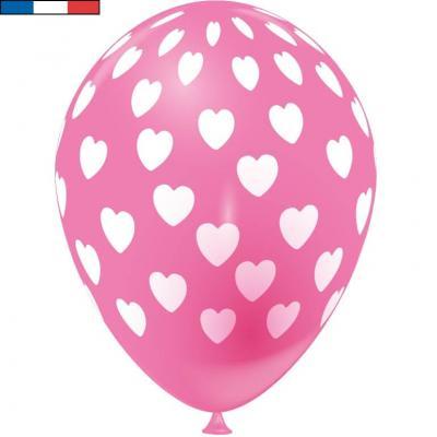 Ballon français rose bonbon en latex et coeurs 30cm (x8) REF/49145