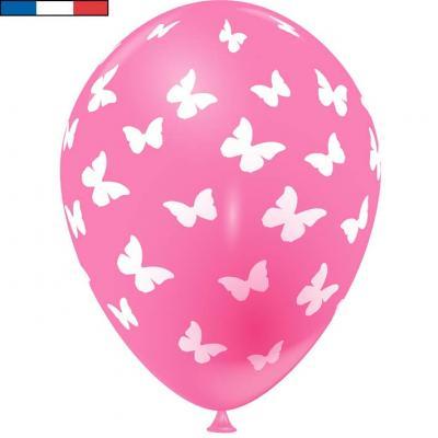 Ballon français rose bonbon en latex et papillons 30cm (x8) REF/49176