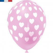 Ballon français rose en latex et coeurs 30cm (x8) REF/49145