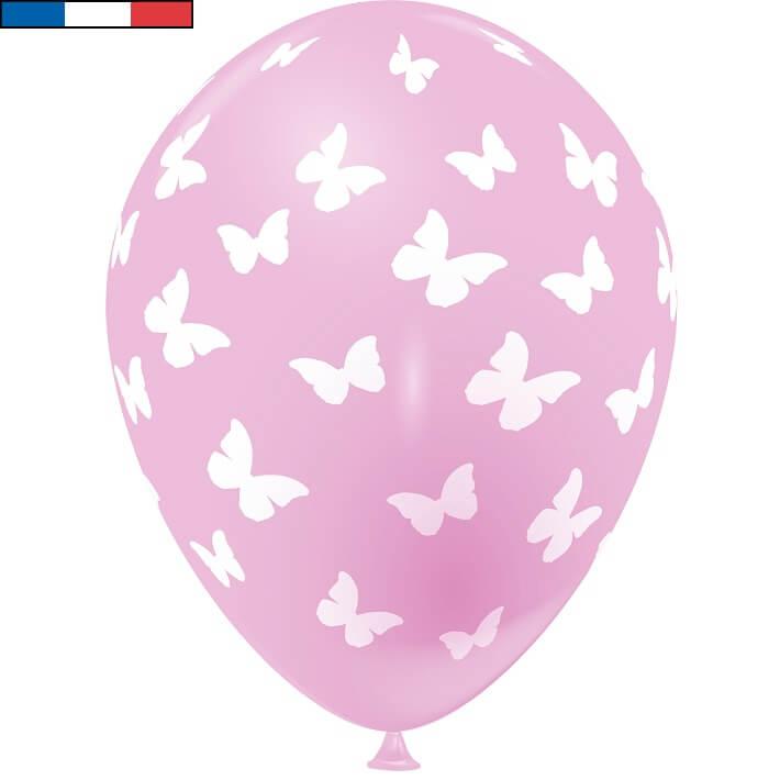 Ballon francais rose papillon en latex