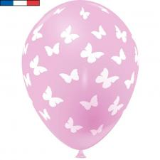 Ballon français rose en latex et papillons 30cm (x8) REF/49176