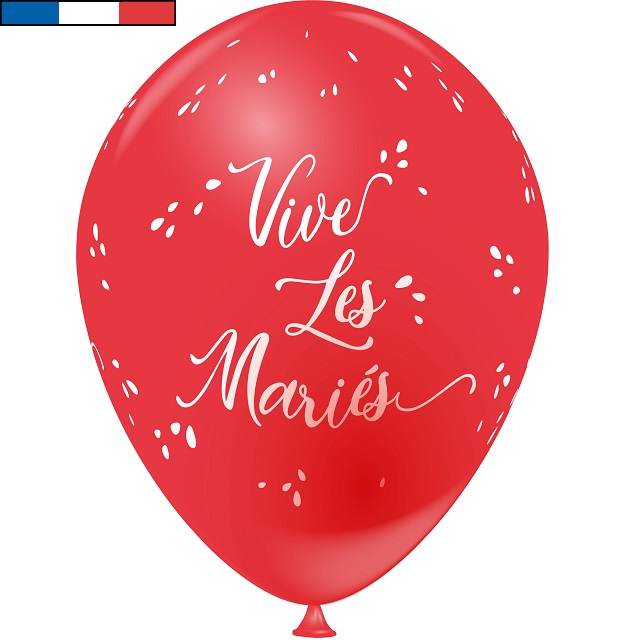 Ballon francais rouge mariage vive les maries en latex