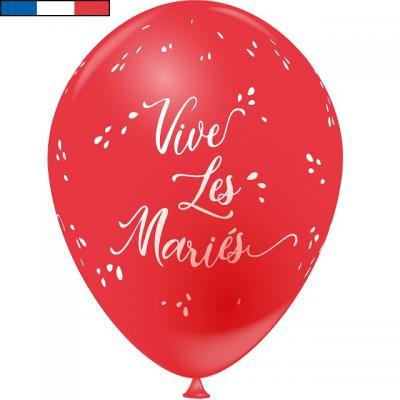 Ballon français mariage rouge 30cm en latex (x8) REF/9309