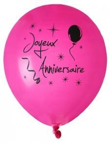 Ballon joyeux anniversaire fuchsia (x8) REF/4842