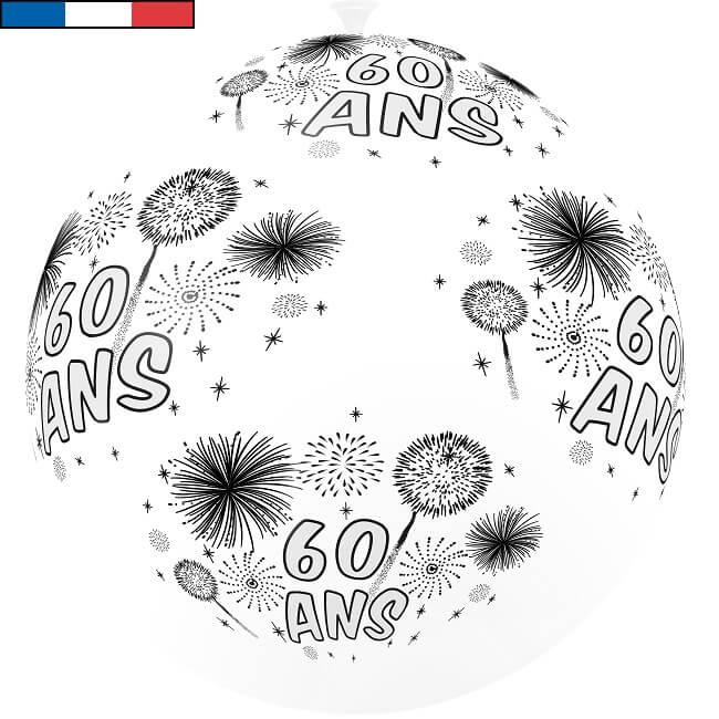 Ballon geant anniversaire 60ans en latex blanc et noir fabrication francaise