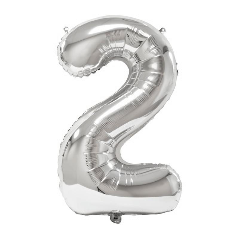 Ballon geant anniversaire argent chiffre 2