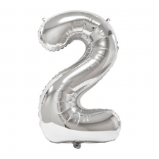Ballon géant anniversaire argent chiffre 2 (x1) REF/BA3012
