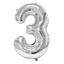 Ballon géant anniversaire argent chiffre 3 (x1) REF/BA3012