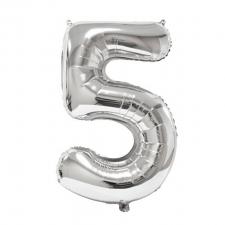 Ballon géant anniversaire argent chiffre 5 (x1) REF/BA3012