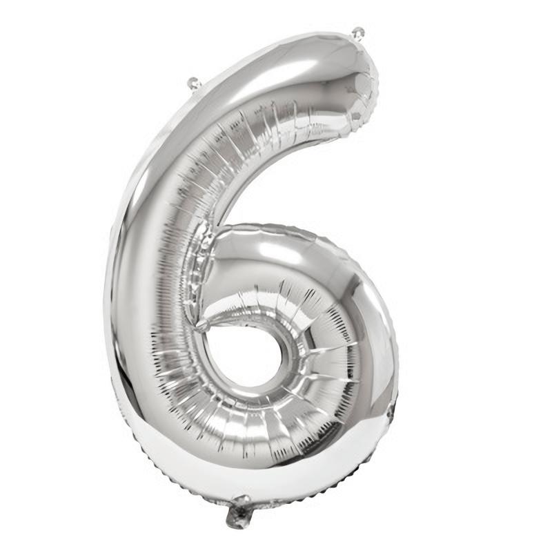 Ballon geant anniversaire argent chiffre 6