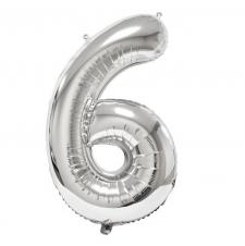Ballon géant anniversaire argent chiffre 6 (x1) REF/BA3012