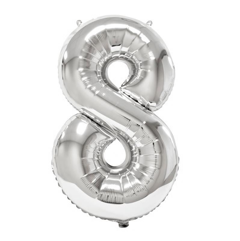 Ballon geant anniversaire argent chiffre 8