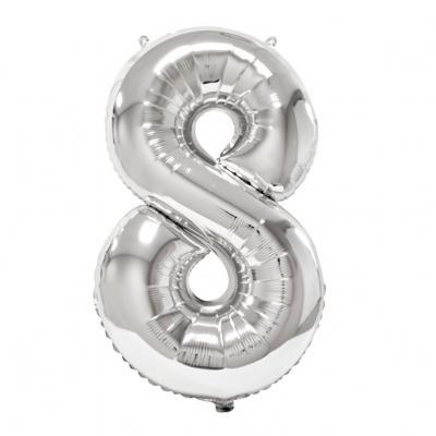 Ballon géant anniversaire argent chiffre 8 (x1) REF/BA3012