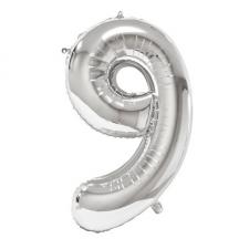 Ballon géant anniversaire argent chiffre 9 (x1) REF/BA3012