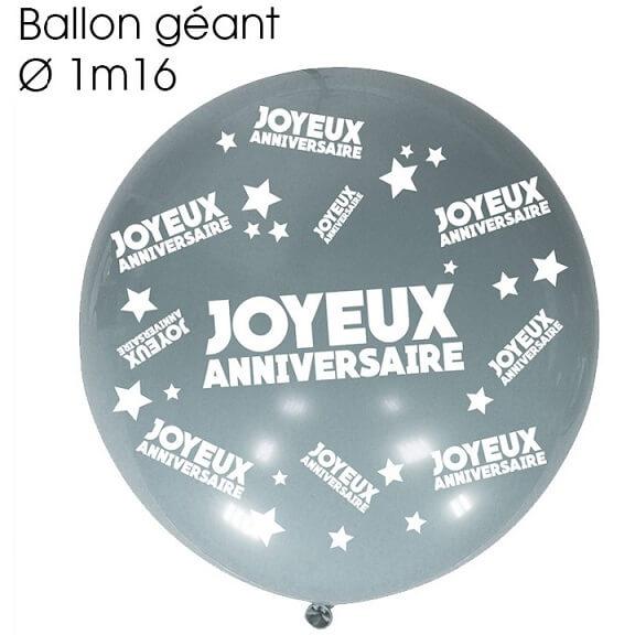 Ballon geant anniversaire argent