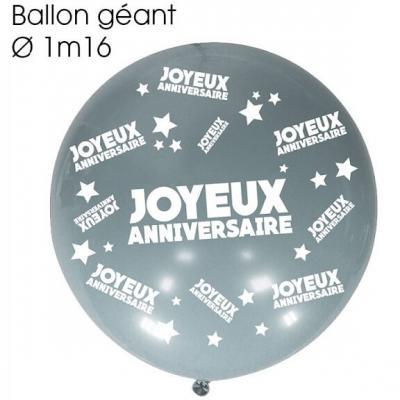 Ballon géant anniversaire argent (x1) REF/BALGA00A