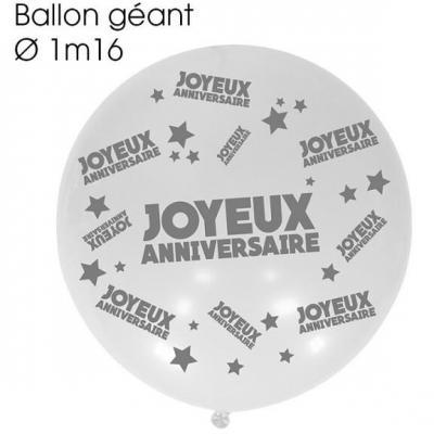 Ballon géant anniversaire blanc (x1) REF/BALGA00BA