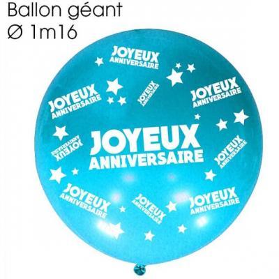Ballon géant anniversaire bleu (x1) REF/BALGA00B