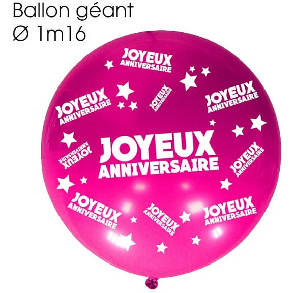 Ballon geant anniversaire fuchsia