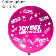Ballon géant anniversaire fuchsia (x1) REF/BALGA00F