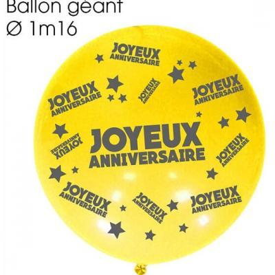Ballon géant anniversaire jaune (x1) REF/BALGA00J