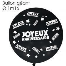 Ballon géant anniversaire noir (x1) REF/BALGA00N