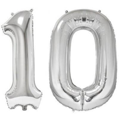 REF/BA3012 - Ballon géant argent chiffre 10 de 86cm pour déco de salle anniversaire élégante.