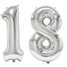 REF/BA3012 - Ballon géant argent chiffre 18 de 86cm pour déco de salle anniversaire élégante.