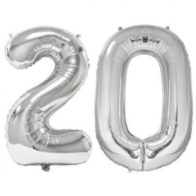 REF/BA3012 - Ballon géant argent chiffre 20 de 86cm pour déco de salle anniversaire élégante.