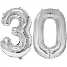 REF/BA3012 - Ballon géant argent chiffre 30 de 86cm pour déco de salle anniversaire élégante.