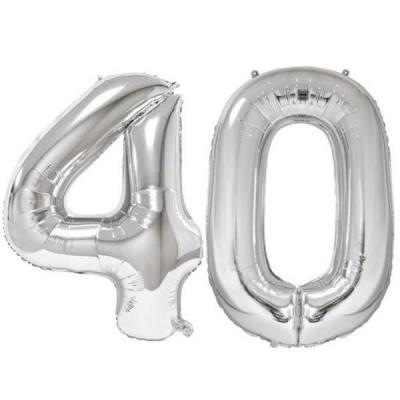 REF/BA3012 - Ballon géant argent chiffre 40 de 86cm pour déco de salle anniversaire élégante.