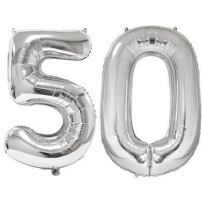 REF/BA3012 - Ballon géant argent chiffre 50 de 86cm pour déco de salle anniversaire élégante.