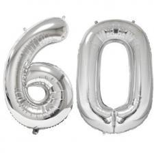 REF/BA3012 - Ballon géant argent chiffre 60 de 86cm pour déco de salle anniversaire élégante.