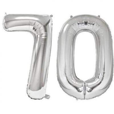 REF/BA3012 - Ballon géant argent chiffre 70 de 86cm pour déco de salle anniversaire élégante.