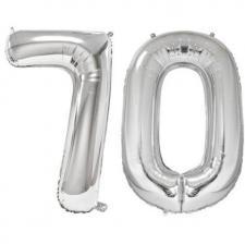 Ballon geant argent chiffre 70 86cm pour deco de salle anniversaire elegante