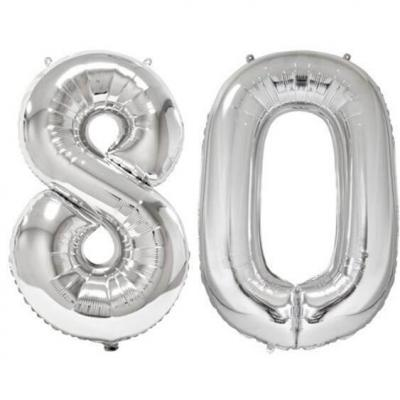 REF/BA3012 - Ballon géant argent chiffre 80 de 86cm pour déco de salle anniversaire élégante.