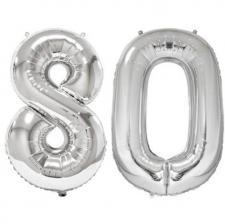 Ballon geant argent chiffre 80 86cm pour deco de salle anniversaire elegante