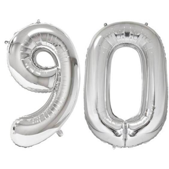 Ballon geant argent chiffre 90 86cm pour deco de salle anniversaire elegante