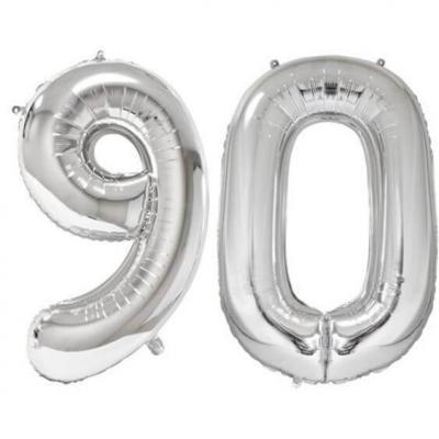 REF/BA3012 - Ballon géant argent chiffre 90 de 86cm pour déco de salle anniversaire élégante.