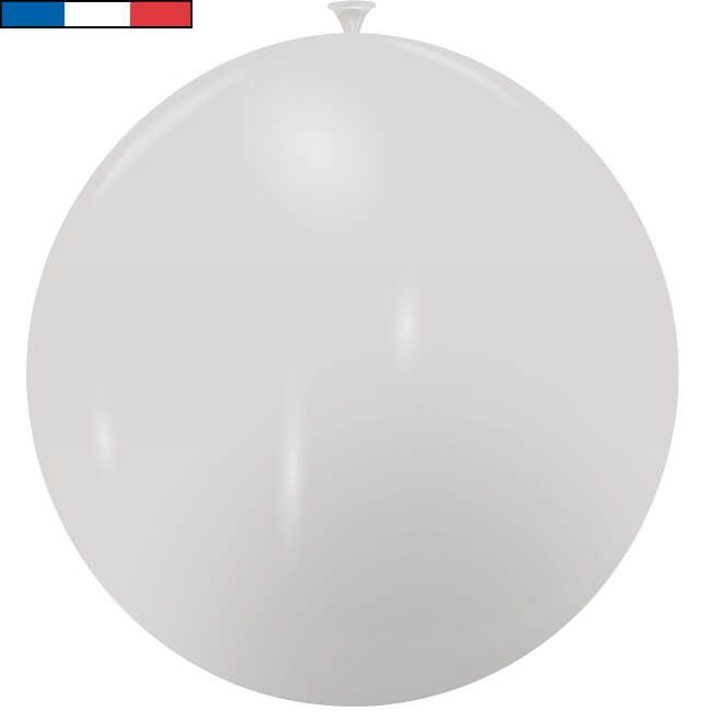 Ballon geant argent metallique en latex de fabrication francaise