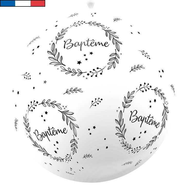Ballon geant bapteme blanc de fabrication francaise