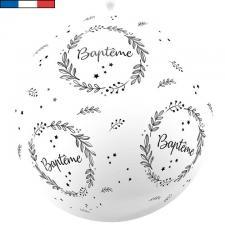 Ballon géant français Baptême blanc 1m (x1) REF/18059