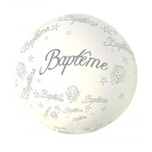 Ballon geant bapteme blanc en latex