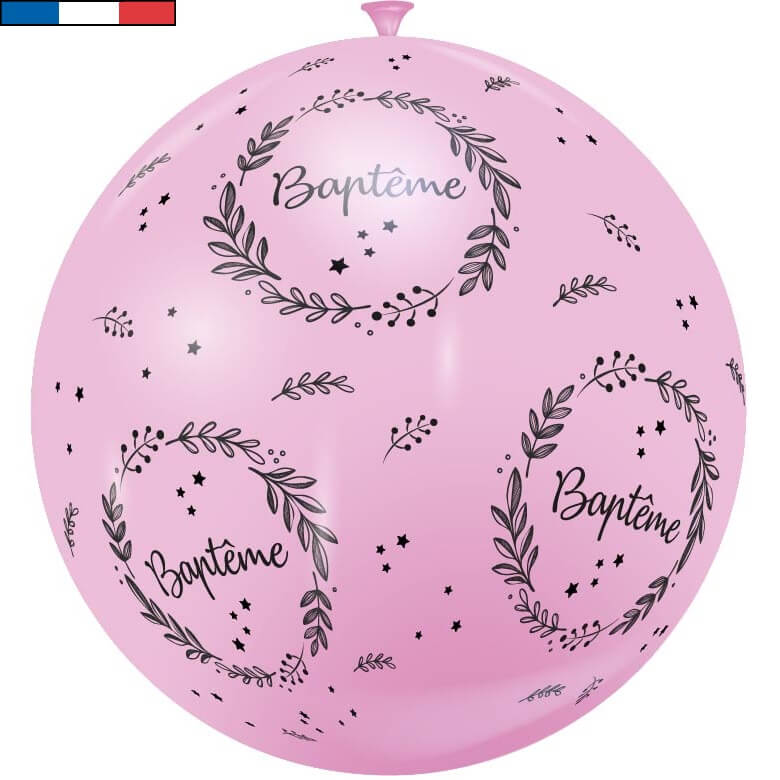 Ballon geant bapteme rose de fabrication francaise