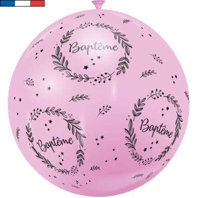Ballon géant français Baptême rose 1m (x1) REF/18059
