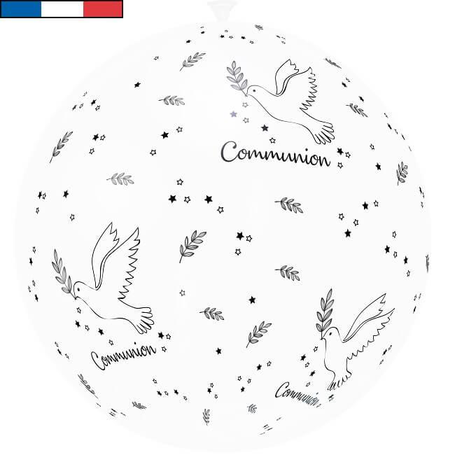Ballon geant communion blanc et noir en latex de fabrication francaise
