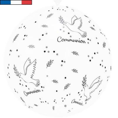 Ballon français géant Communion blanc en latex 1m (x1) REF/32000