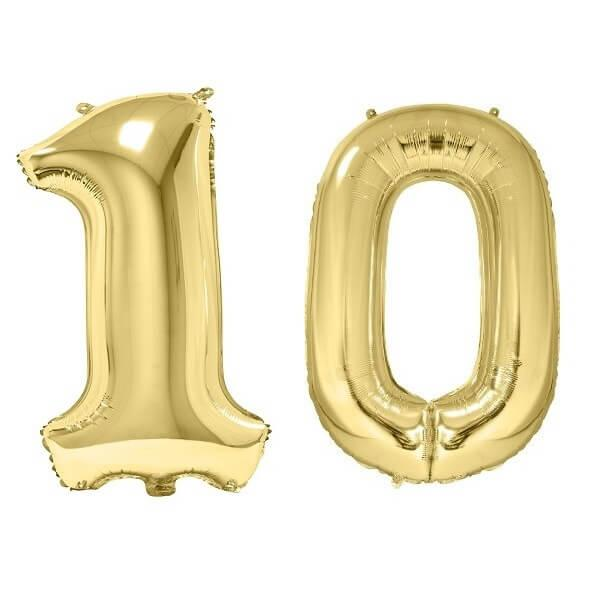 Ballon geant dore chiffre anniversaire 10ans de 86cm