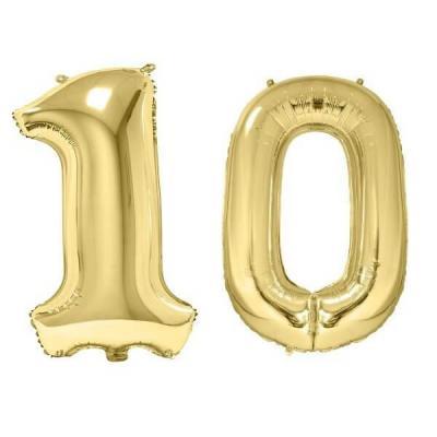 REF/BA3012 - Chiffre 10 avec 2 ballons géants dorés métallisés 86cm pour fête anniversaire.