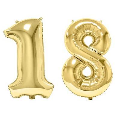 REF/BA3012 - Chiffre 18 avec 2 ballons géants dorés métallisés 86cm pour fête anniversaire.